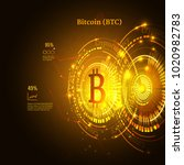 bitcoin symbol and price chart. ... | Shutterstock .eps vector #1020982783