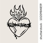 sacred heart of jesus sketch... | Shutterstock .eps vector #1020984859