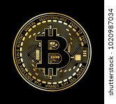 black and gold bitcoin coin... | Shutterstock .eps vector #1020987034
