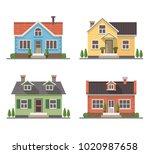 set of 4 different residential...   Shutterstock . vector #1020987658