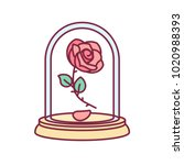 vector cute single rose under... | Shutterstock .eps vector #1020988393