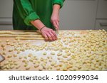 gnocchi making process on wood... | Shutterstock . vector #1020999034