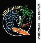 surf typography for t shirt... | Shutterstock .eps vector #1021004026