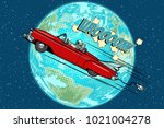 astronaut in an electric car... | Shutterstock .eps vector #1021004278