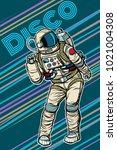 astronaut dancing disco funny.... | Shutterstock .eps vector #1021004308