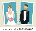 torn photo of married couple... | Shutterstock .eps vector #1021010488