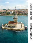 aerial view of maiden's tower...   Shutterstock . vector #1021011820