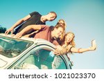 group of happy people taking a... | Shutterstock . vector #1021023370