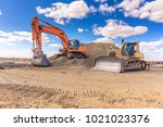 Group Of Excavator Working On ...