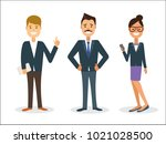 happy business people standing... | Shutterstock .eps vector #1021028500