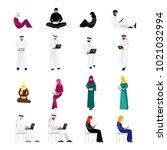 set of muslim people in a flat...   Shutterstock . vector #1021032994