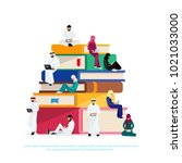 e learning concept. young...   Shutterstock . vector #1021033000