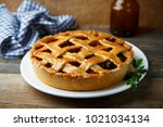 homemade savory pie with minced ... | Shutterstock . vector #1021034134