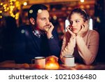 sad couple having conflict and... | Shutterstock . vector #1021036480