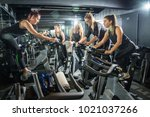 fit women working out at... | Shutterstock . vector #1021037266