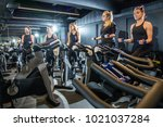 sporty women in working out...   Shutterstock . vector #1021037284