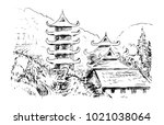 asian mountain landscape with... | Shutterstock .eps vector #1021038064