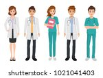 group of doctor character in... | Shutterstock .eps vector #1021041403