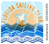 florida sailing club graphic... | Shutterstock .eps vector #1021041454