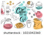 set of coffee symbols lettering ... | Shutterstock .eps vector #1021042360