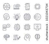 artificial intelligence ai line ... | Shutterstock .eps vector #1021043734