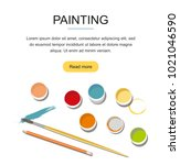 painting. paints  brushes ... | Shutterstock .eps vector #1021046590