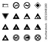 solid vector icon set   barrier ... | Shutterstock .eps vector #1021048180