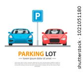 parking lot mockup. city area... | Shutterstock .eps vector #1021051180