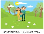 happy family is in the park ... | Shutterstock .eps vector #1021057969