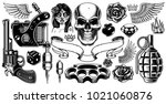 set of tattoo art. black and... | Shutterstock . vector #1021060876