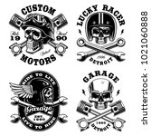 set of biker skulls. motorcycle ... | Shutterstock . vector #1021060888