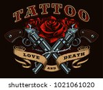 guns and roses tattoo design.... | Shutterstock . vector #1021061020