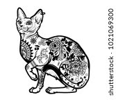 vintage cat tattoo design.... | Shutterstock .eps vector #1021069300