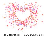 rose color confetti with heart... | Shutterstock .eps vector #1021069714