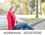 portrait of beautiful long... | Shutterstock . vector #1021070230