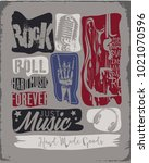 rock music slogan | Shutterstock .eps vector #1021070596