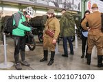 Small photo of Soldiers with visitors. St. Petersburg, Russia - 7 May, 2017. Visitor in the exhibition pavilion of the Patriotic Association of Lenrezerv.