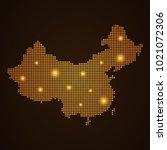 pixel mosaic glow orange dot... | Shutterstock .eps vector #1021072306