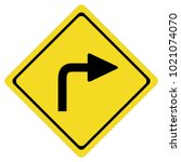 turn right sign on white... | Shutterstock .eps vector #1021074070