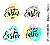 happy easter. lettering on hand ... | Shutterstock .eps vector #1021078303