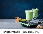 matcha green tea latte with... | Shutterstock . vector #1021082443
