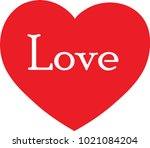 red heart with love text in...   Shutterstock .eps vector #1021084204