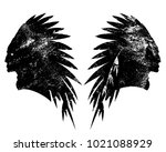 tribal chief wearing feather... | Shutterstock .eps vector #1021088929