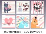 valentines day postcards set... | Shutterstock .eps vector #1021094074