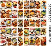 gastronomy collage on white...   Shutterstock . vector #1021102210