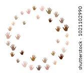hands border  palms frame... | Shutterstock .eps vector #1021102990