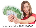 Woman Happy Holding Euro...