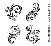 Stock vector set of four vector floral design elements 1021115458
