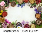 Small photo of Medicinal herb and flower border with fresh and dried herbs and flowers used in natural herbal medicine and homeopathic remedies on parchment paper background.