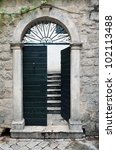 Mediterranean Old Door With...